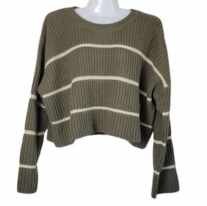 Moon & Madison Cropped Knit Sweater Stripes Green M